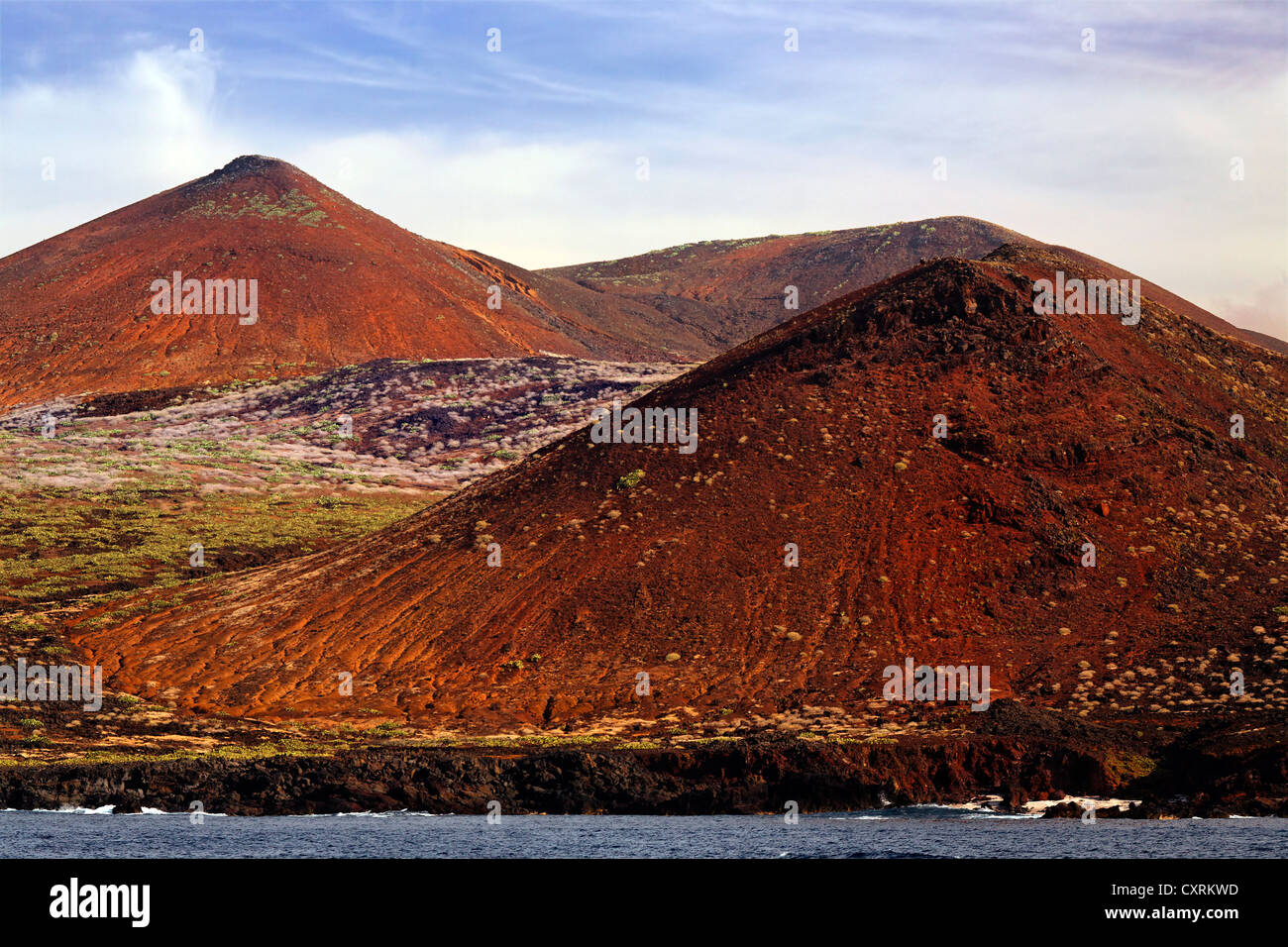 Barren landscape of volcanic hills on the coast, San Benedicto Island, near Socorro, Revillagigedo Islands, archipelago, - Stock Image
