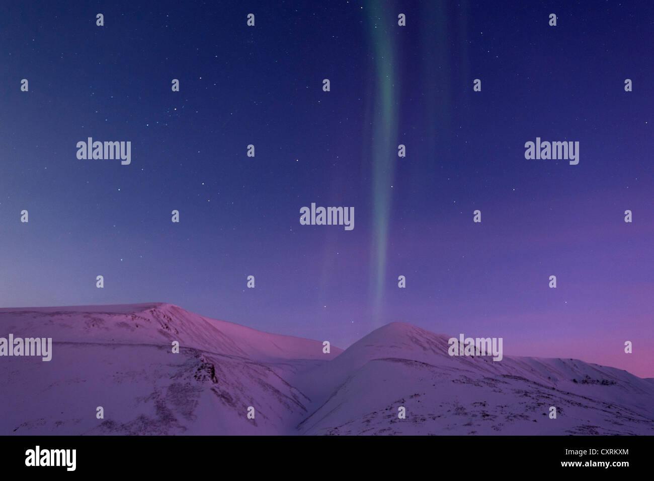 Northern lights, aurora borealis, polar night, Spitsbergen, Svalbard, Norway, Europe - Stock Image