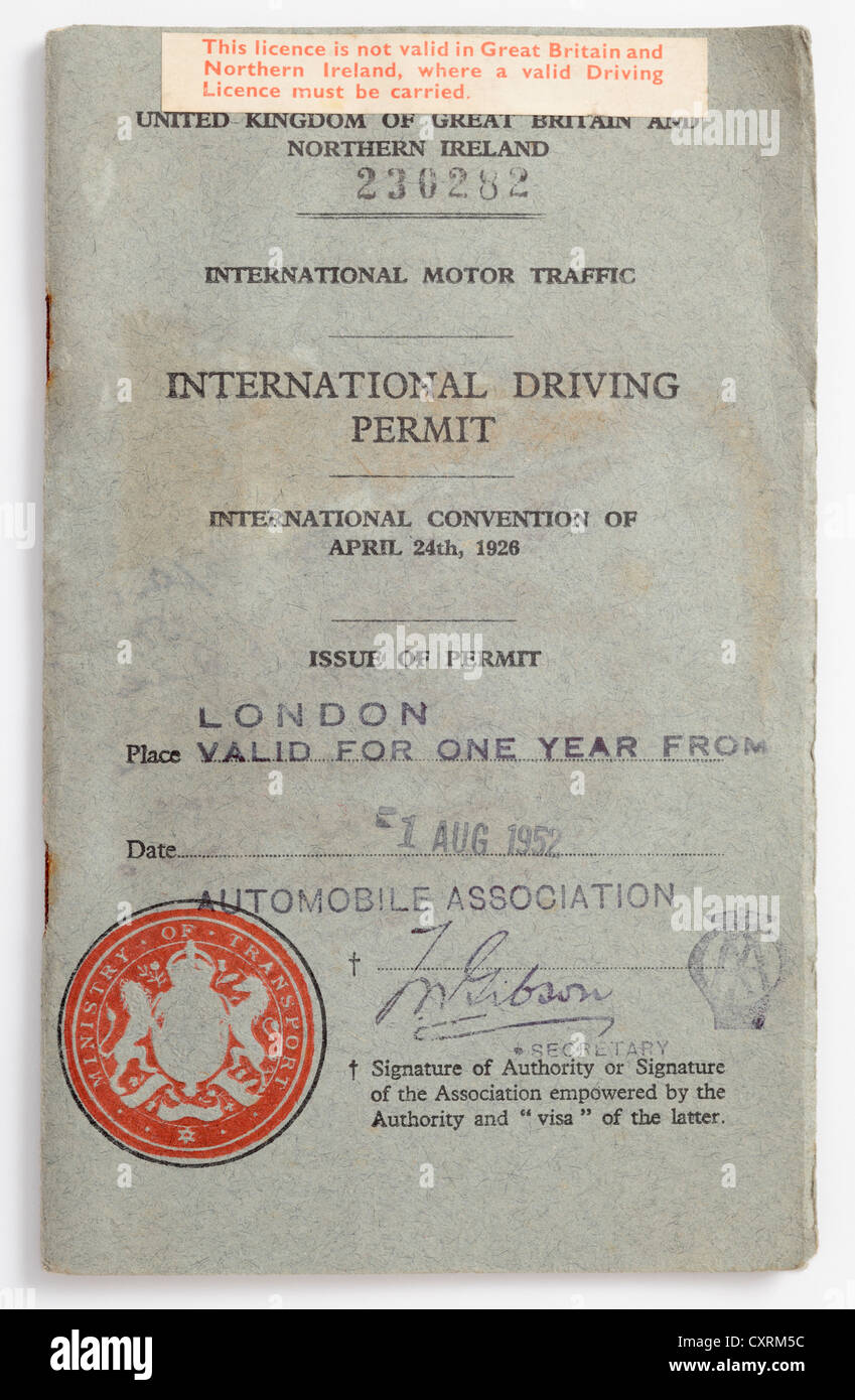 International Driving Permit or Licence issued in 1952 by the Ministry of Transport through the AA. - Stock Image