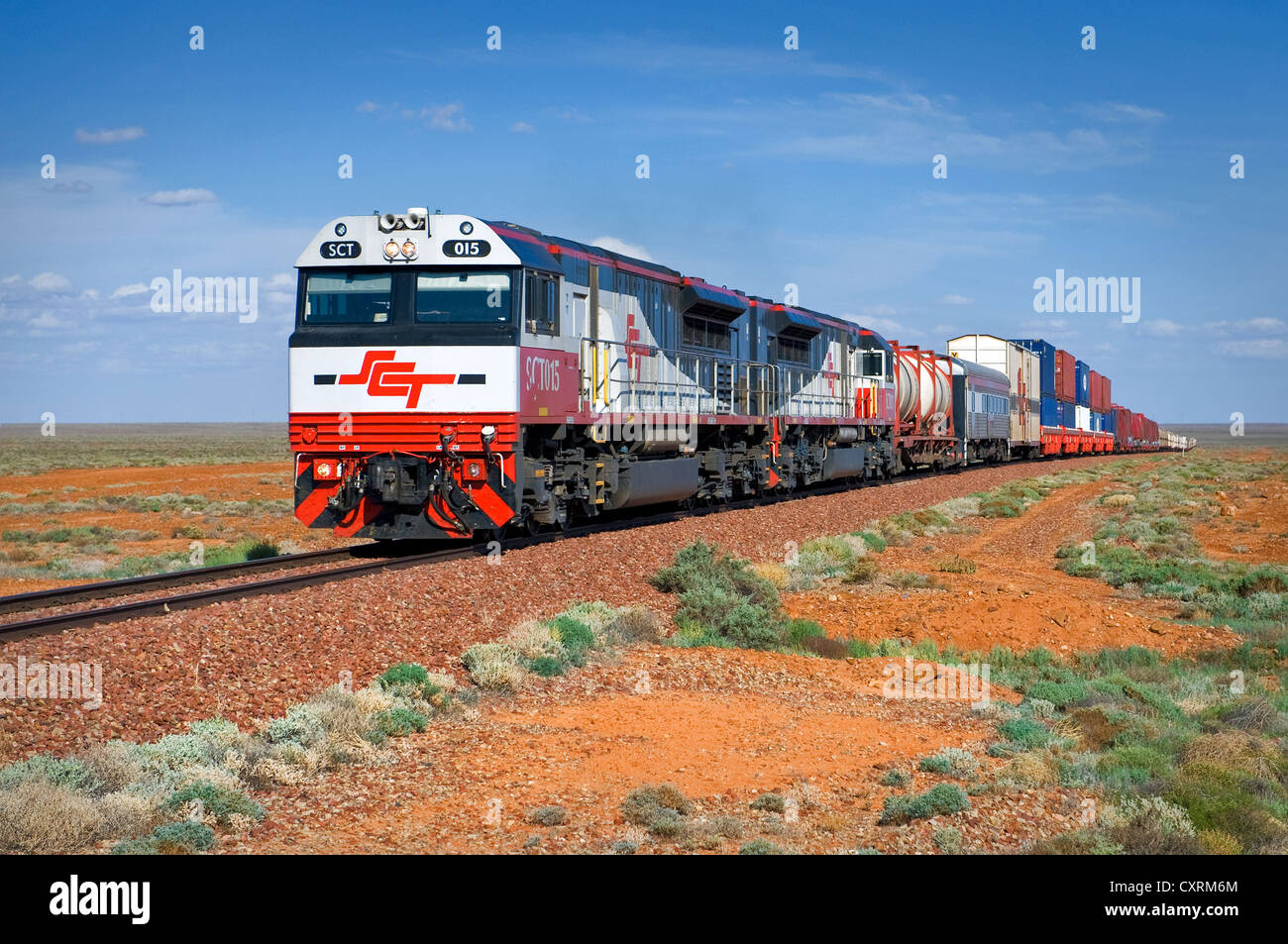 Central Australian Railway on its way through the deserts. - Stock Image