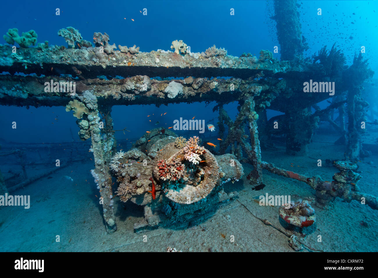 Superstructure, winch, mast, shipwreck, tanker, S.S. Turbo, build 1912, sank on 4/4/1942 during World War II - Stock Image