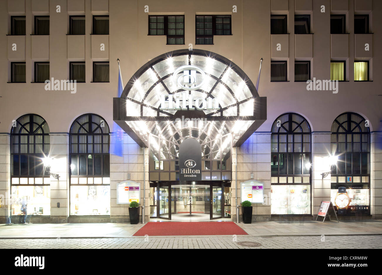 Hilton Hotel, historic town centre, Dresden, Saxony, Germany, Europe, PublicGround - Stock Image