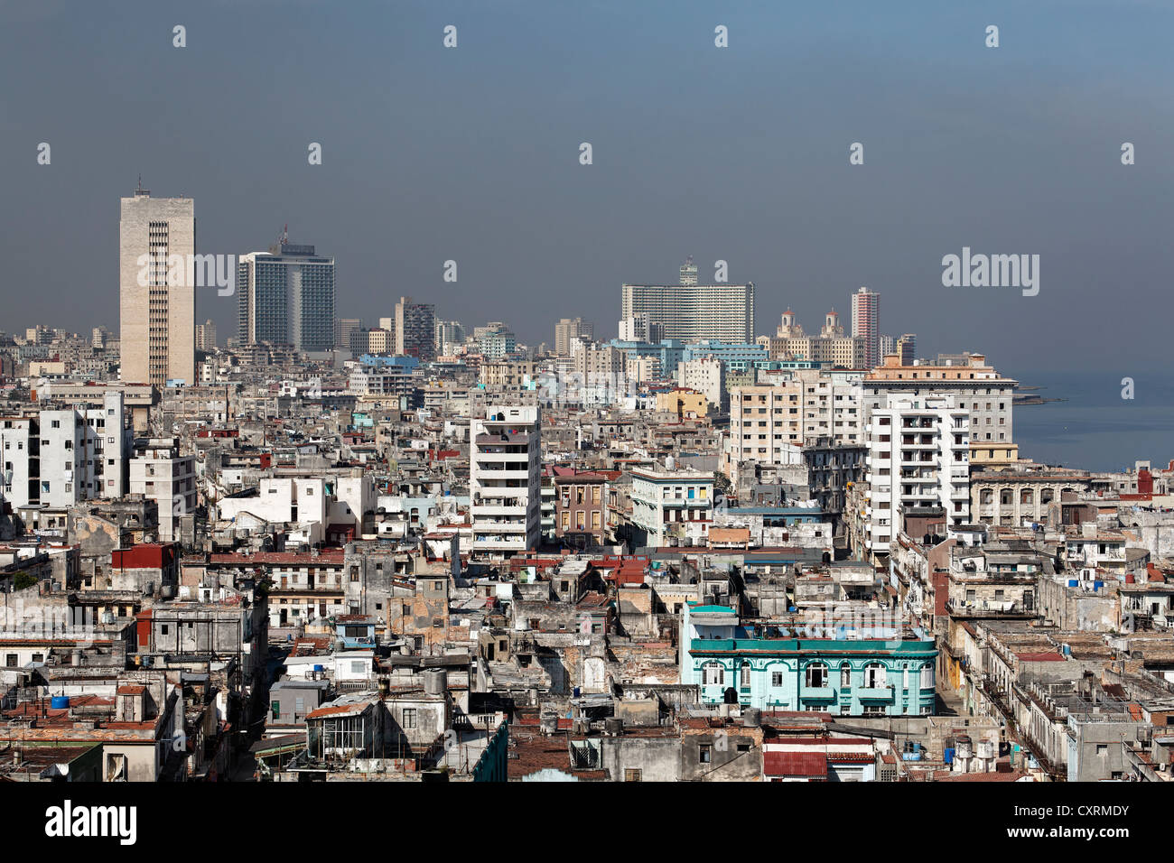 Panoramic view across the rooftops of Villa San Cristobal de La Habana, La Habana, Havana Republic of Cuba, Caribbean - Stock Image
