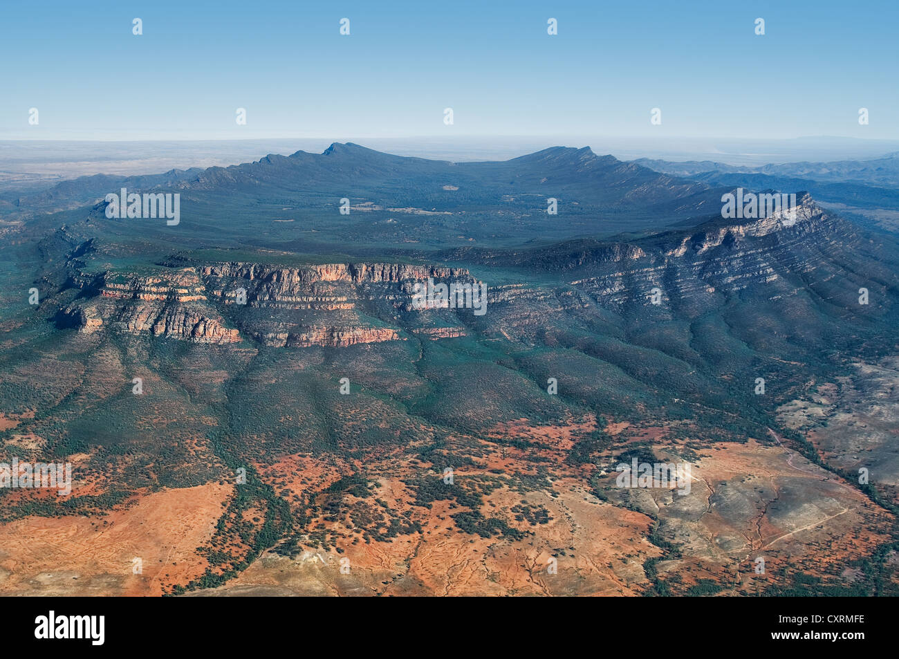 Aerial of Wilpena Pound in the Flinders Ranges. - Stock Image