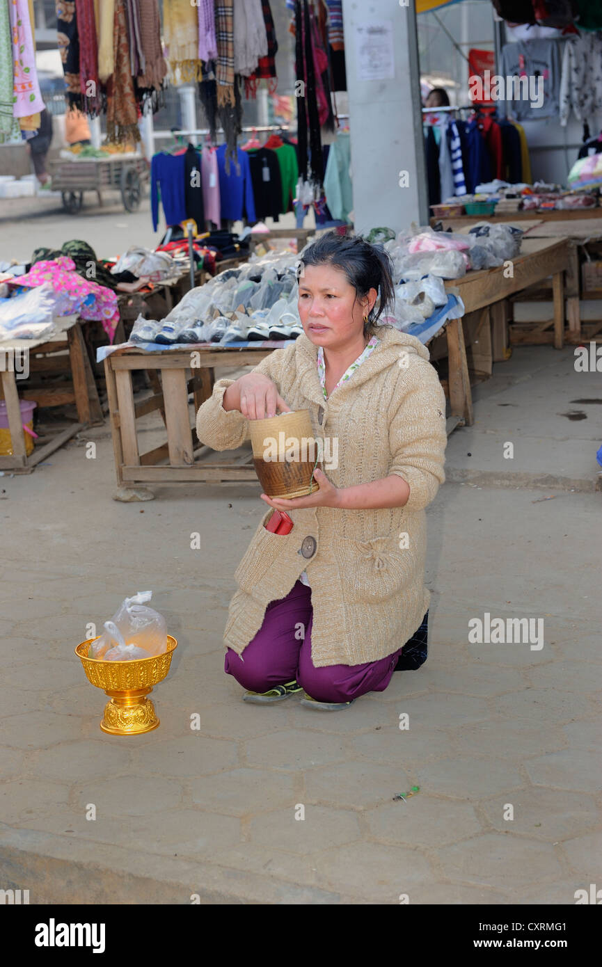 Buddhist shopkeeper waiting with offerings for the Buddhist mendicants in the early morning in the town of Phonsavan, - Stock Image