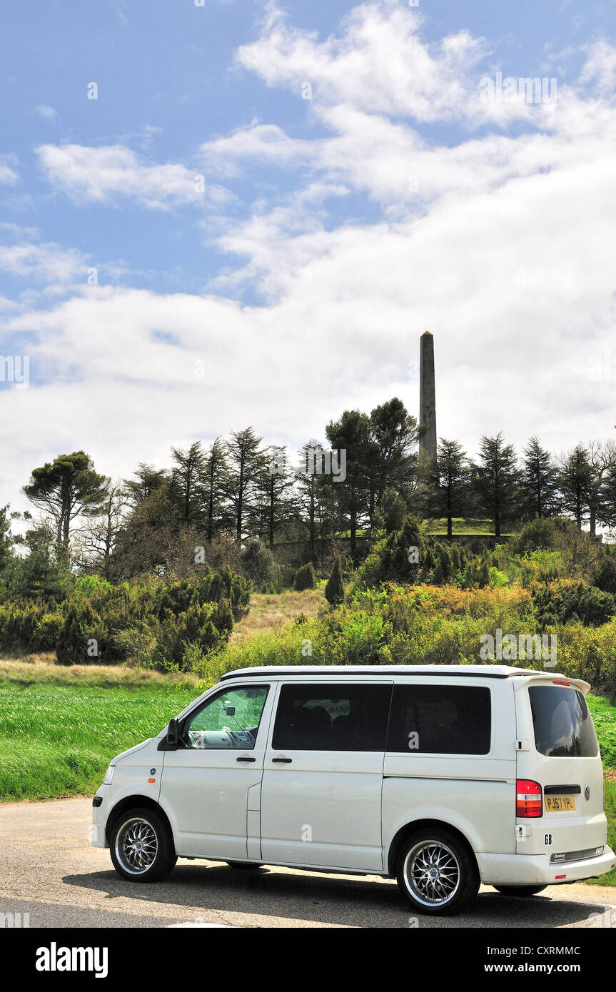 VW camper van stops beside road for a visit to The Riquet Obelisk ( Pierre-Paul Riquet.) creator architect of the - Stock Image