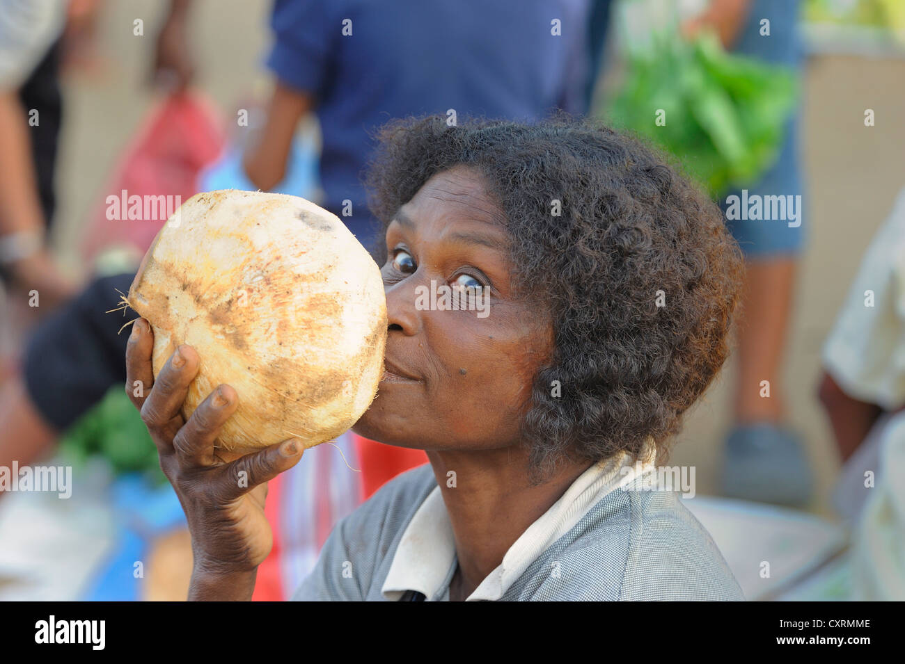 Papuan woman is drinking coconut milk as a substitute for water from directly from the coconut, vegetable market - Stock Image