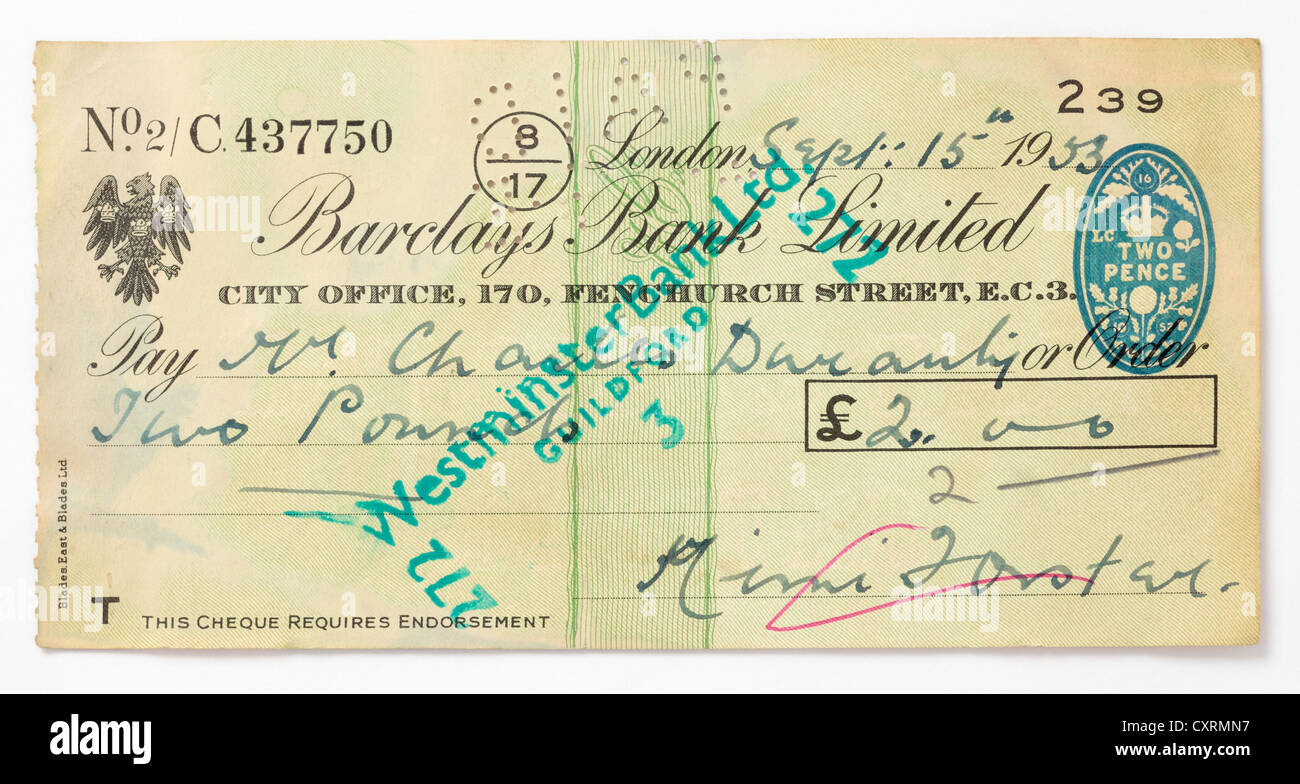 Early Barclays Bank Cheque, dated 1953, made out to the artist and poet, Charles Duranty. - Stock Image