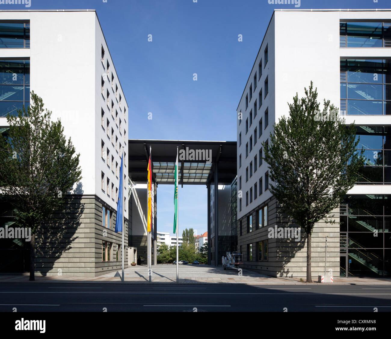 Forum building on Carolaplatz square, ministerial building, Neustadt, Dresden, Saxony, Germany, Europe, PublicGround - Stock Image