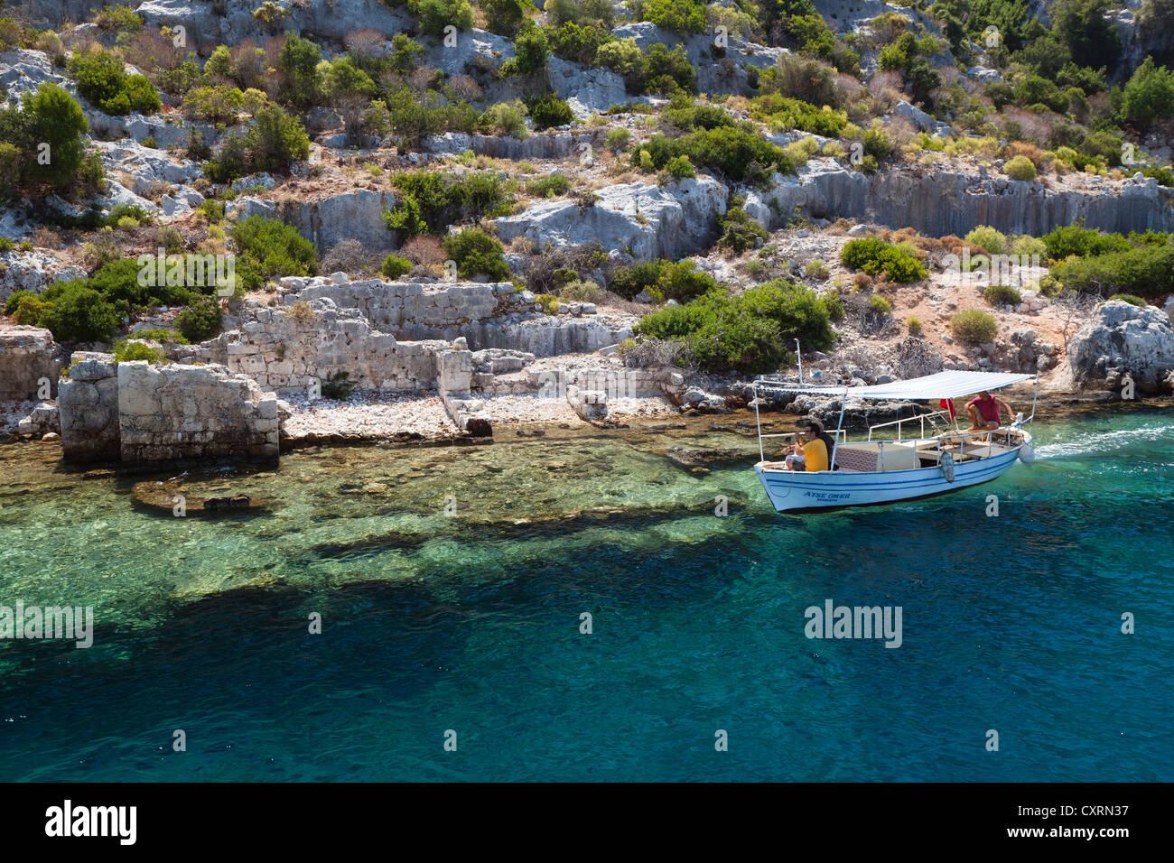 Ancient city of Simena, sunken cty of Kekova, Lycian coast, Lycia, Mediterranean Sea, Turkey, Asia Minor - Stock Image