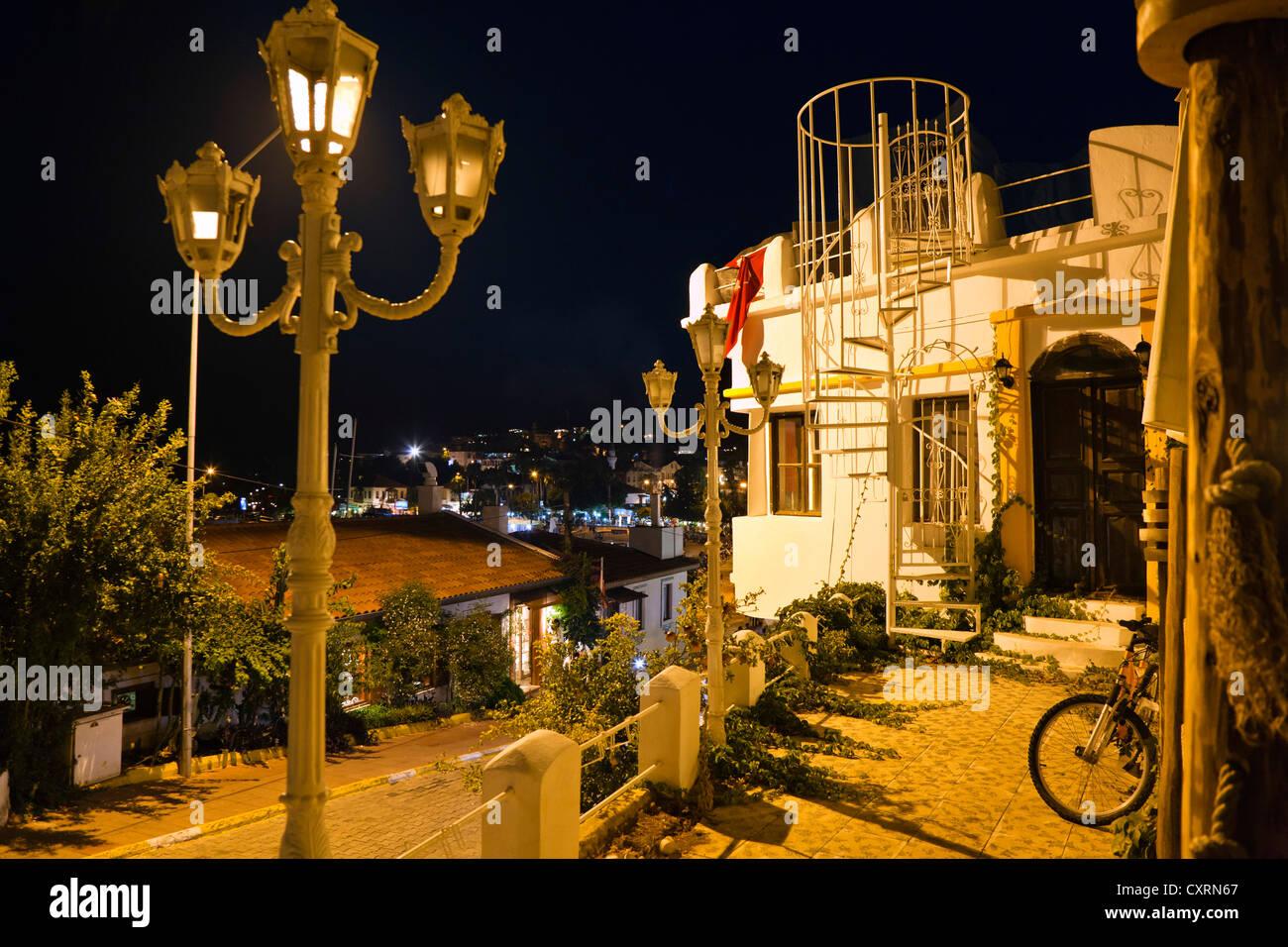 Kas at night, Lycia, Turkey, Asia Minor - Stock Image