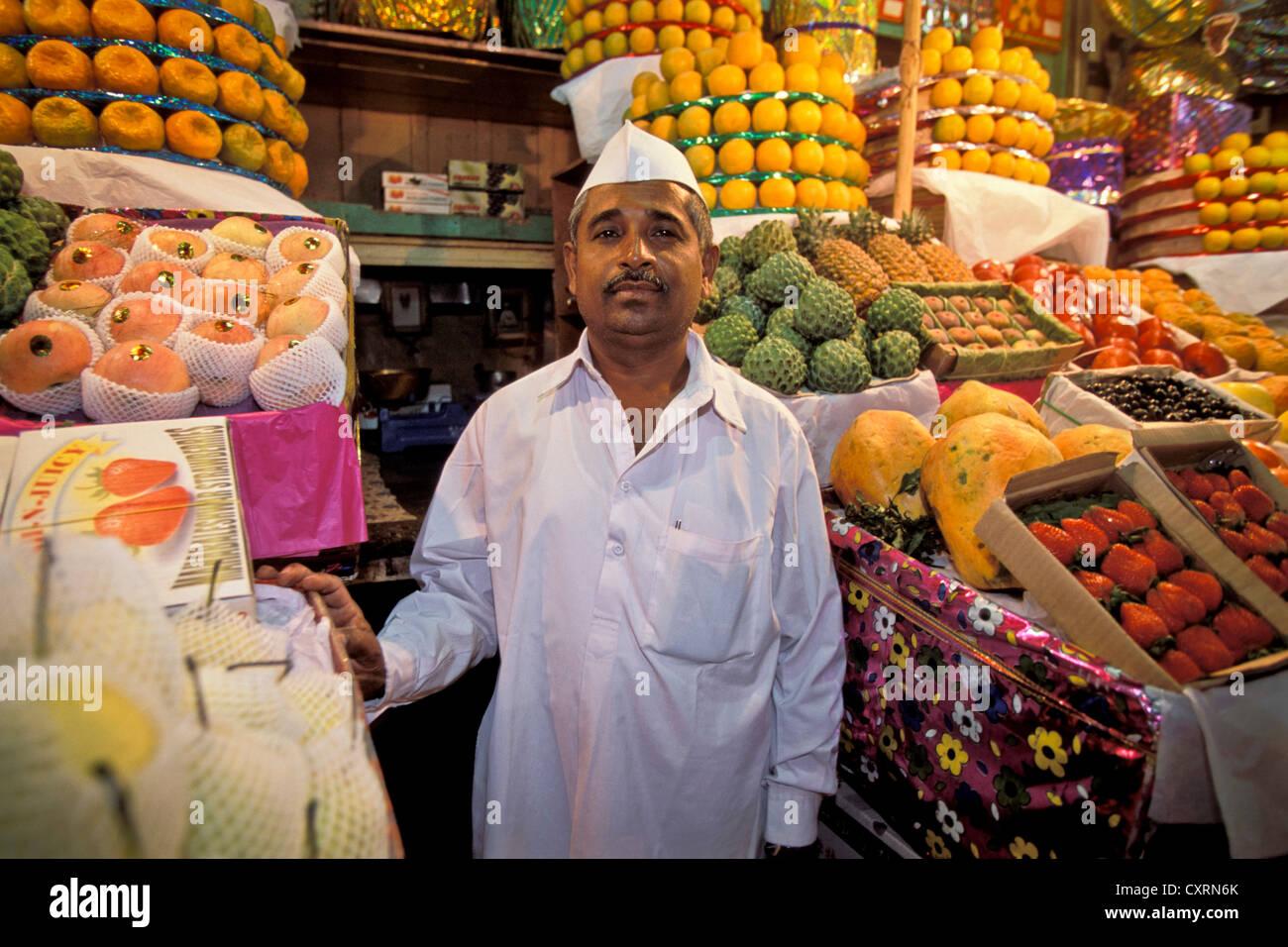 Fruit vendor, fruit stand, Crawford Market, Bombay or Mumbai, Maharashtra, India, South Asia, Asia - Stock Image