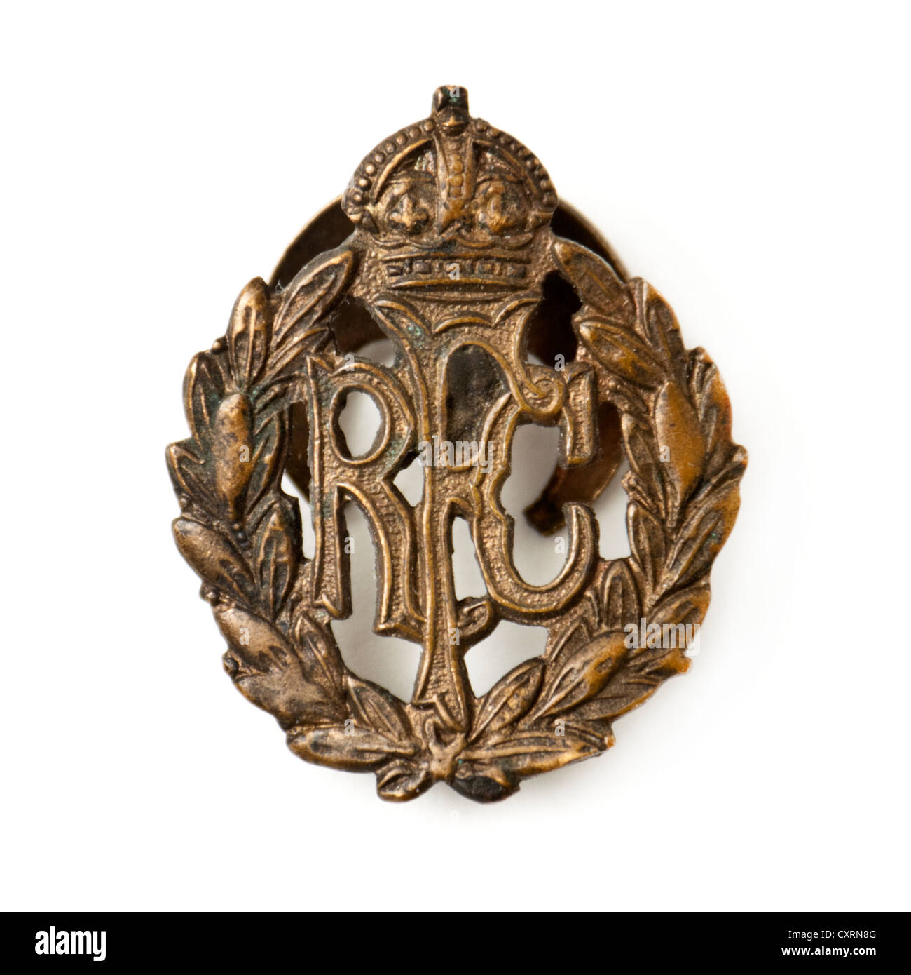 WW1 Royal Flying Corps (RFC) brass badge. The Royal Flying Corps was the air arm of the British Army during World - Stock Image