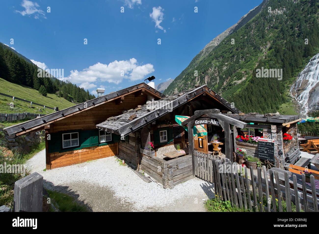 Grawa Alm alp, Stubaital valley, Tyrol, Austria, Europe - Stock Image