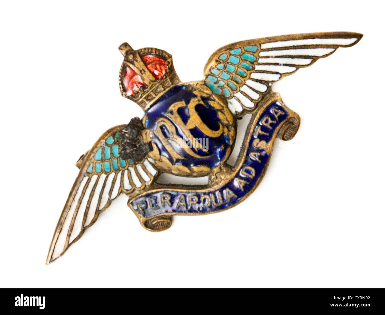 WW1 Royal Flying Corps (RFC) enamel sweetheart badge bearing their motto 'Per Ardua Ad Astra' (Through Adversity - Stock Image