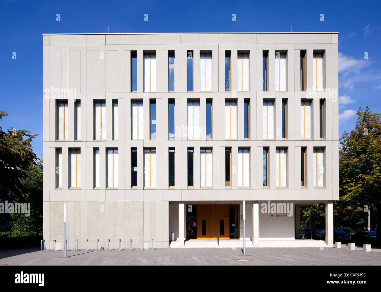Dresden University of Applied Sciences, Hochschule fuer Technik und Wirtschaft, library building, Dresden, Saxony, - Stock Image