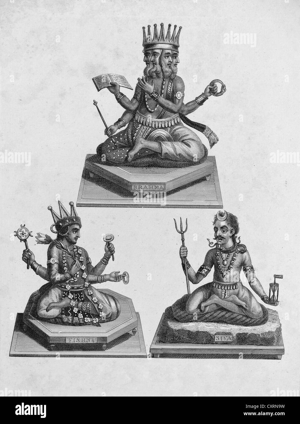 Brahma, Vishnu and Shiva, trinity of Hindu deities, India, engraving, London - Stock Image