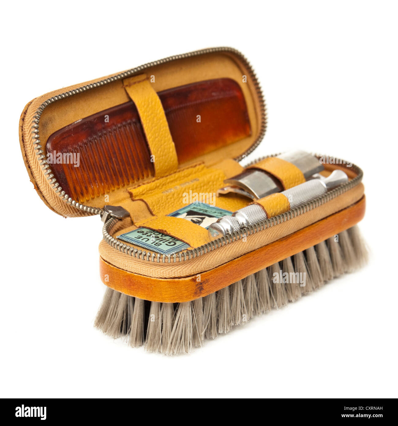 Vintage gentlemen's travel / shaving kit with brush, comb and Gillette razor - Stock Image