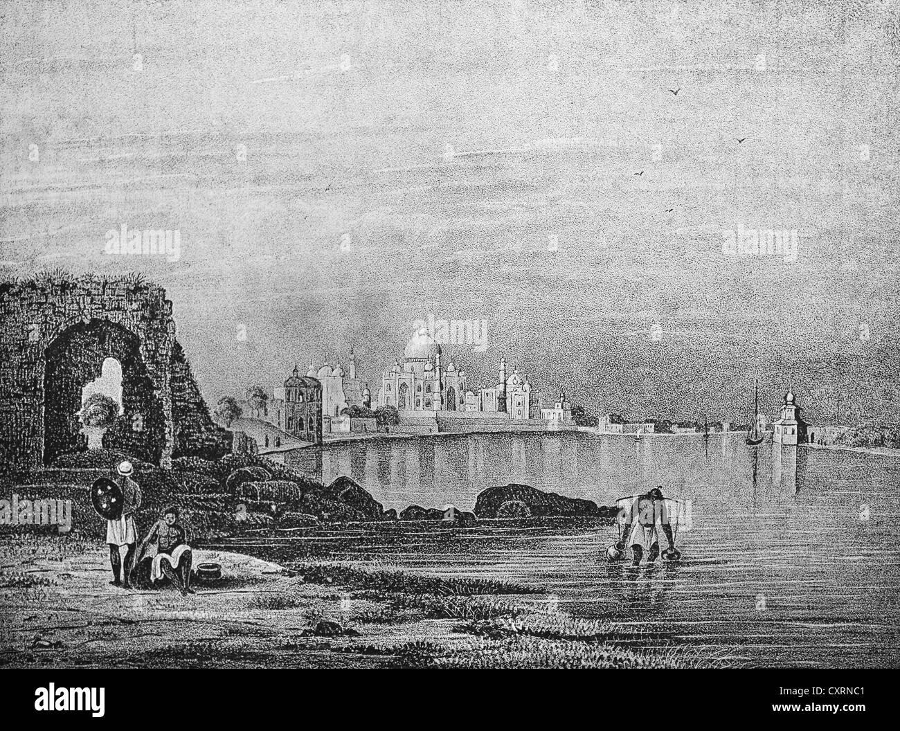 Historical illustration, lithography, Taj Mahal, India, Asia - Stock Image