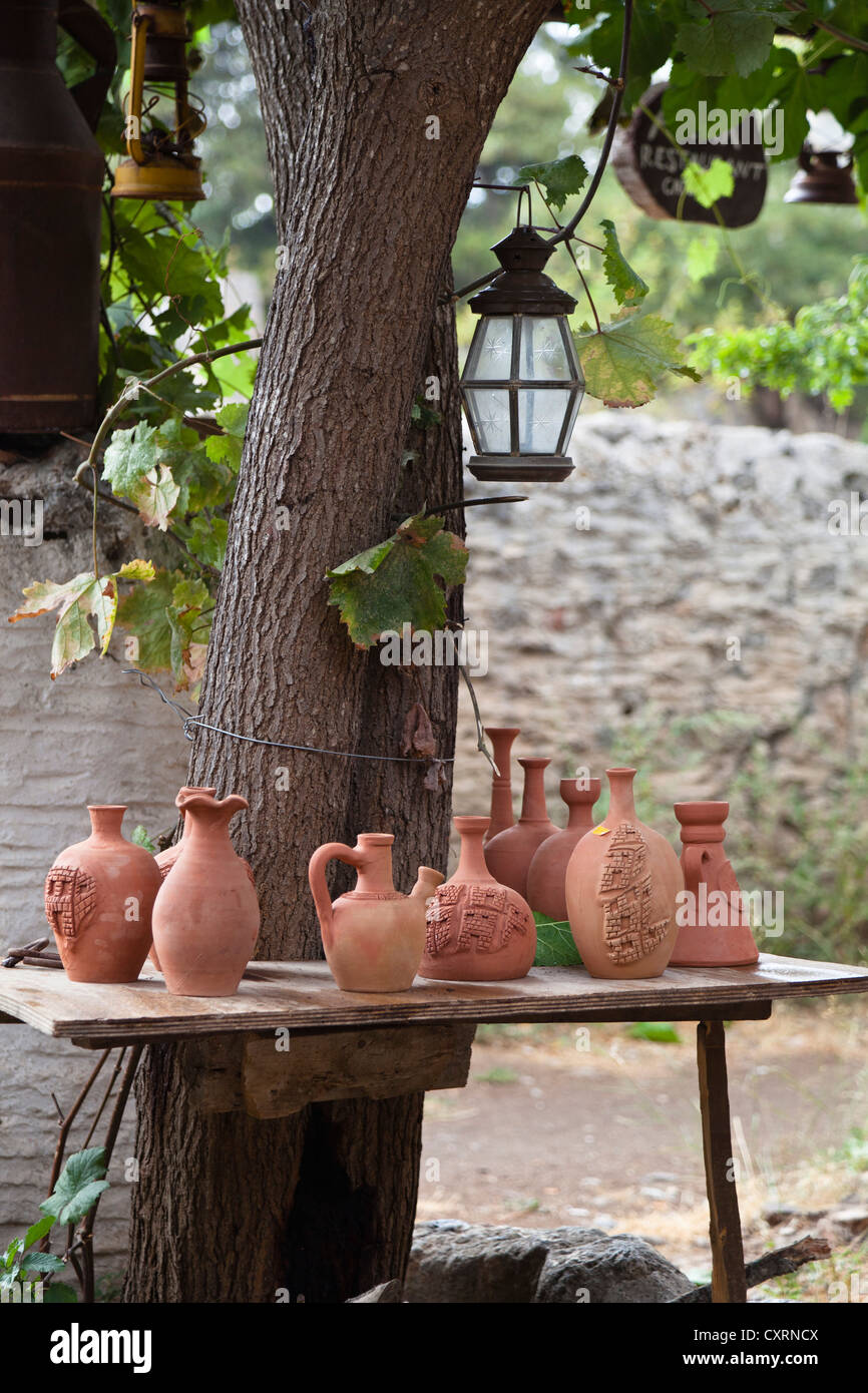 Jugs and vases, pottery in the ghost town of Kayakoey near Fethiye, former Levissi, Lycia, Mediterranean, Turkey, - Stock Image