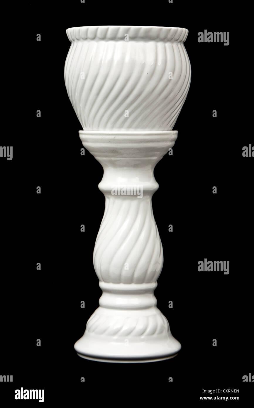 White ceramic Jardiniere and pedestal stand - Stock Image