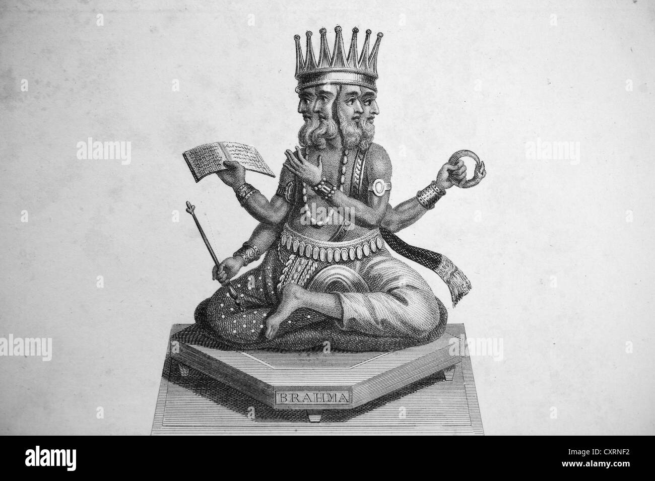 Brahma, Hindu deity, India, engraving, London - Stock Image