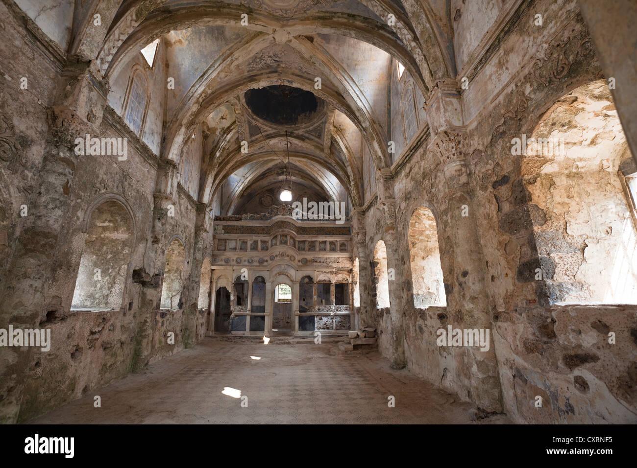 Deserted Greek Orthodox church in the ghost town of Kayakoey near Fethiye, former Levissi, Lycia, Mediterranean, - Stock Image