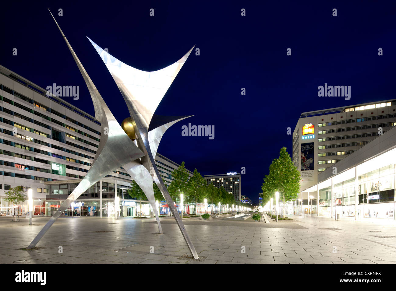 Sculpture, Voelkerfreundschaft, friendship between nations, commercial buildings and hotels, high rise, Prager Strasse, - Stock Image