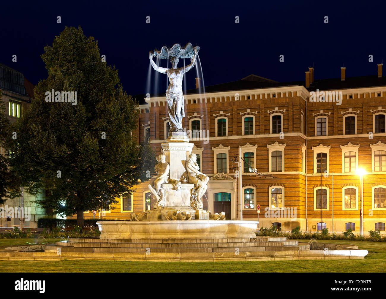 Muschelminna well, district court, Postplatz square, Goerlitz, Upper Lusatia, Lusatia, Saxony, Germany, Europe, - Stock Image