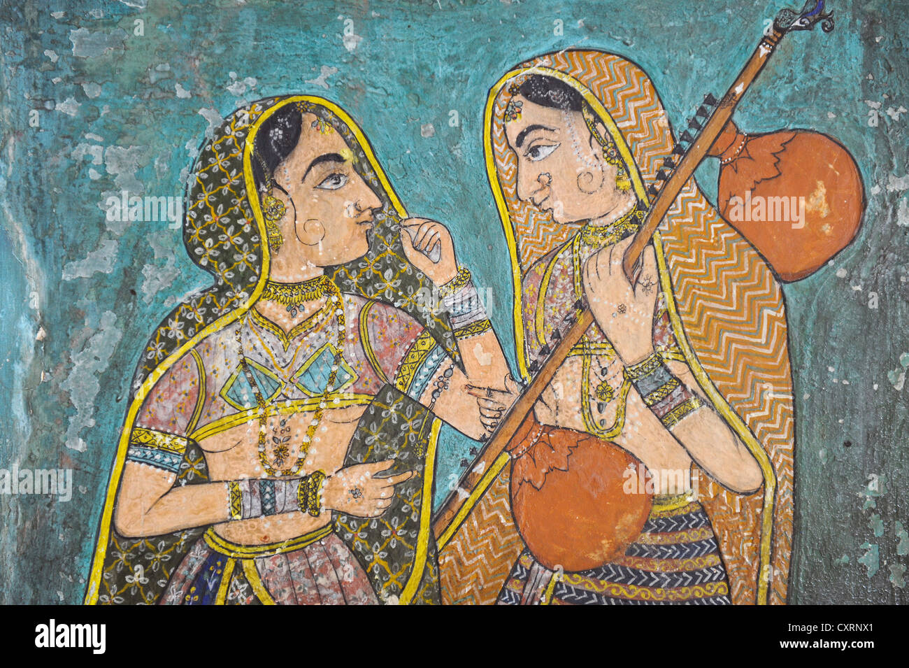 Women at the court with an Indian stringed instrument, Veena, mural, Kota-School, Old Palace, Maharao Madho Singh - Stock Image