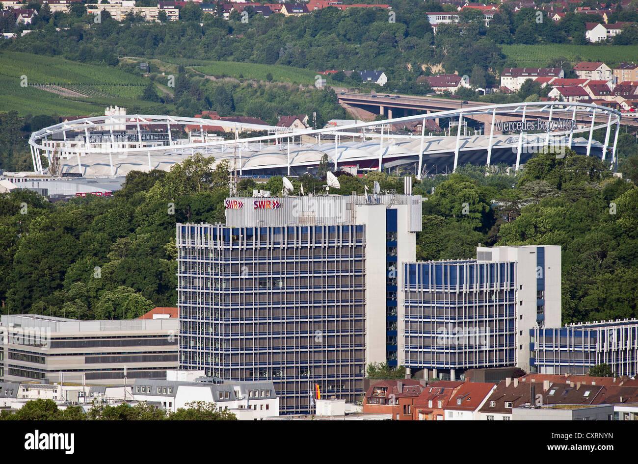 SWR building, television company, Mercedes-Benz Arena, stadium of VfB Stuttgart football club, Stuttgart, Baden - Stock Image