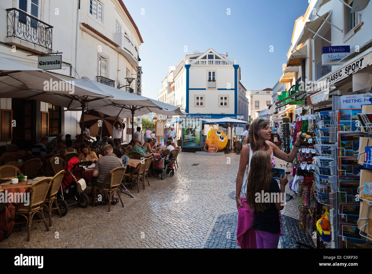 Cafes and a souvenir shop in Lagos, Algarve, Portugal, Europe - Stock Image