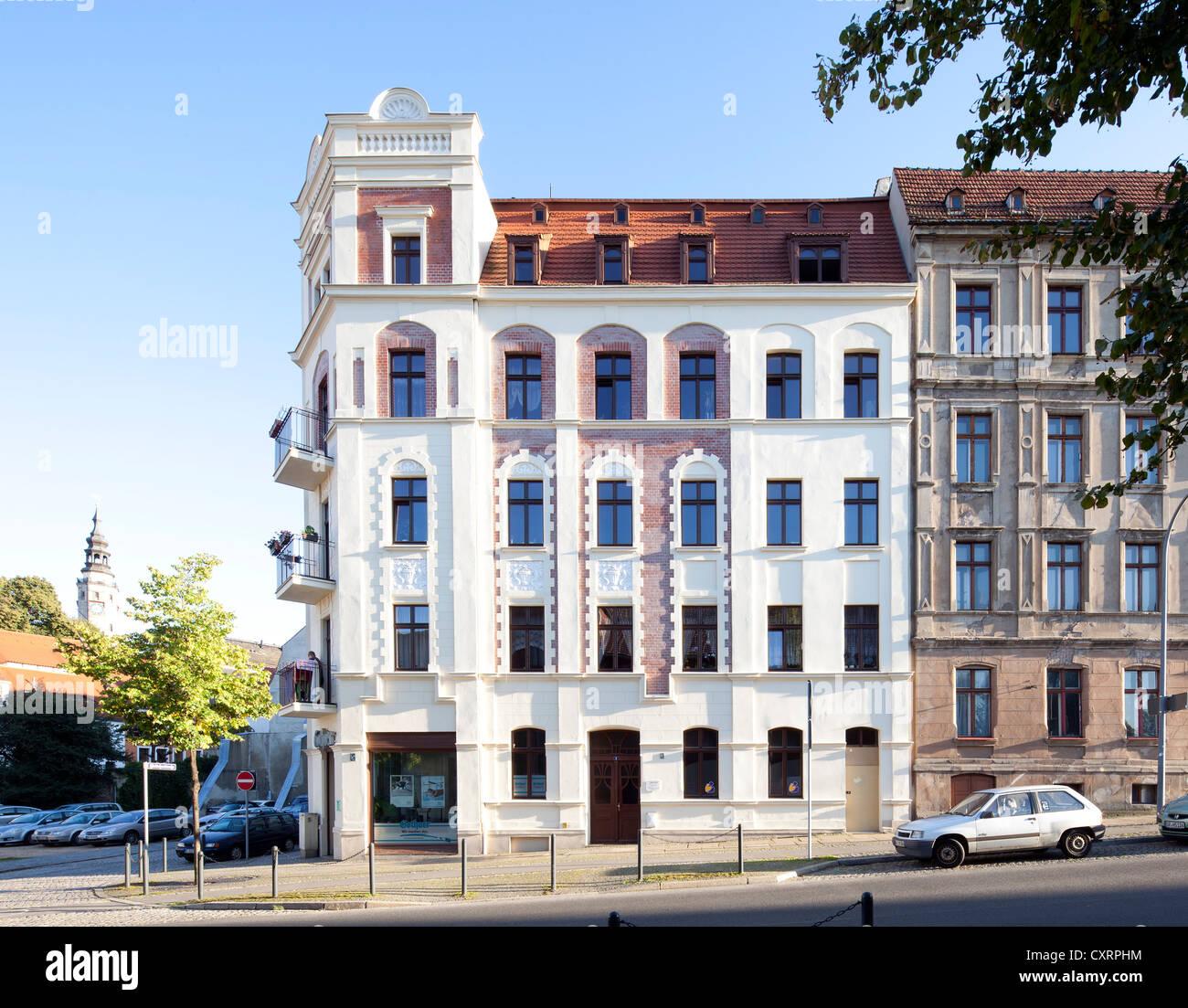 Refurbished residential building, apartment house, Gruenderzeit period, Goerlitz, Upper Lusatia, Lusatia, Saxony, - Stock Image