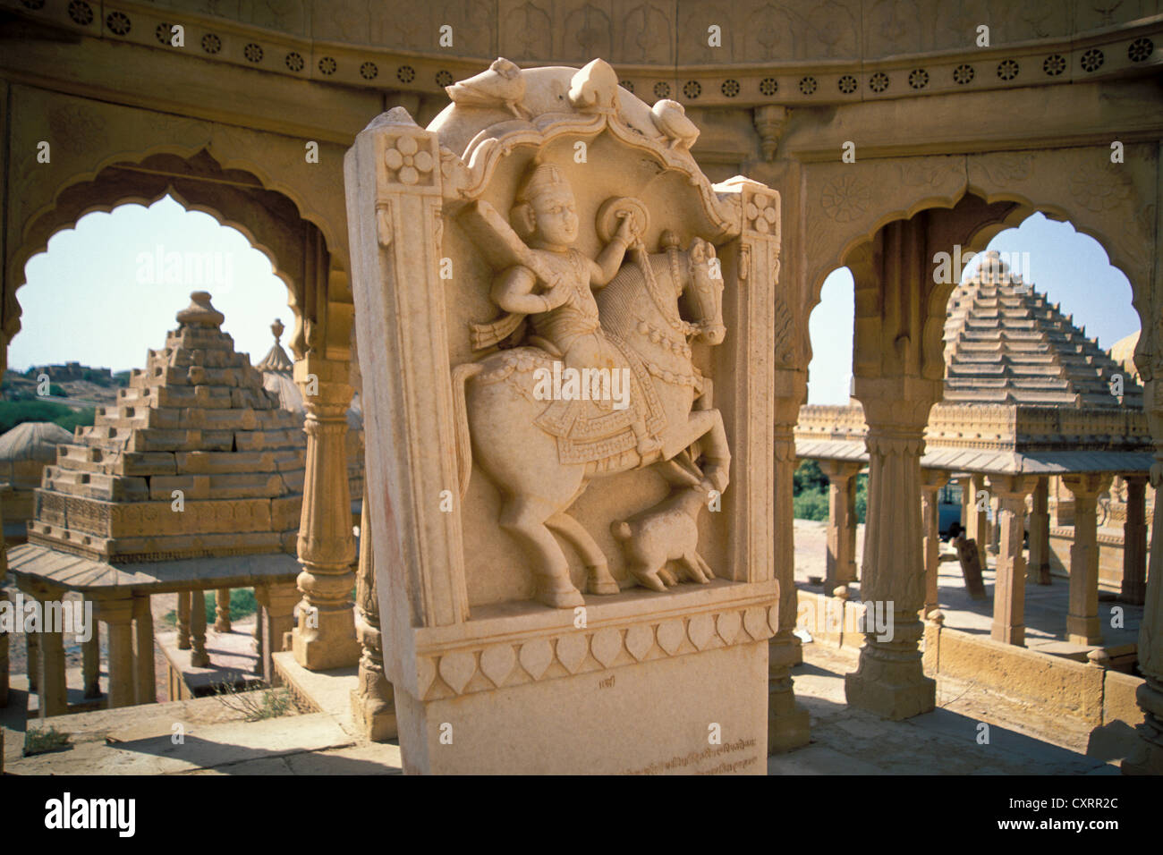 Bada Bagh Chhatris, cenotaph, tomb of the rulers of Jaisalmer, Rajasthan, India, Asia - Stock Image
