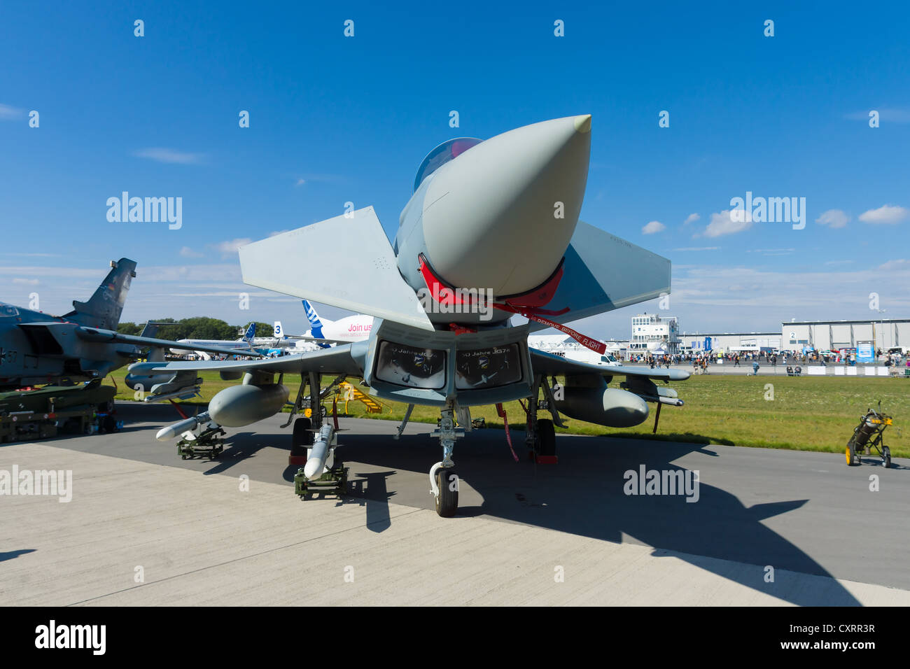The Eurofighter Typhoon is a twin-engine, canard-delta wing, multirole fighter - Stock Image