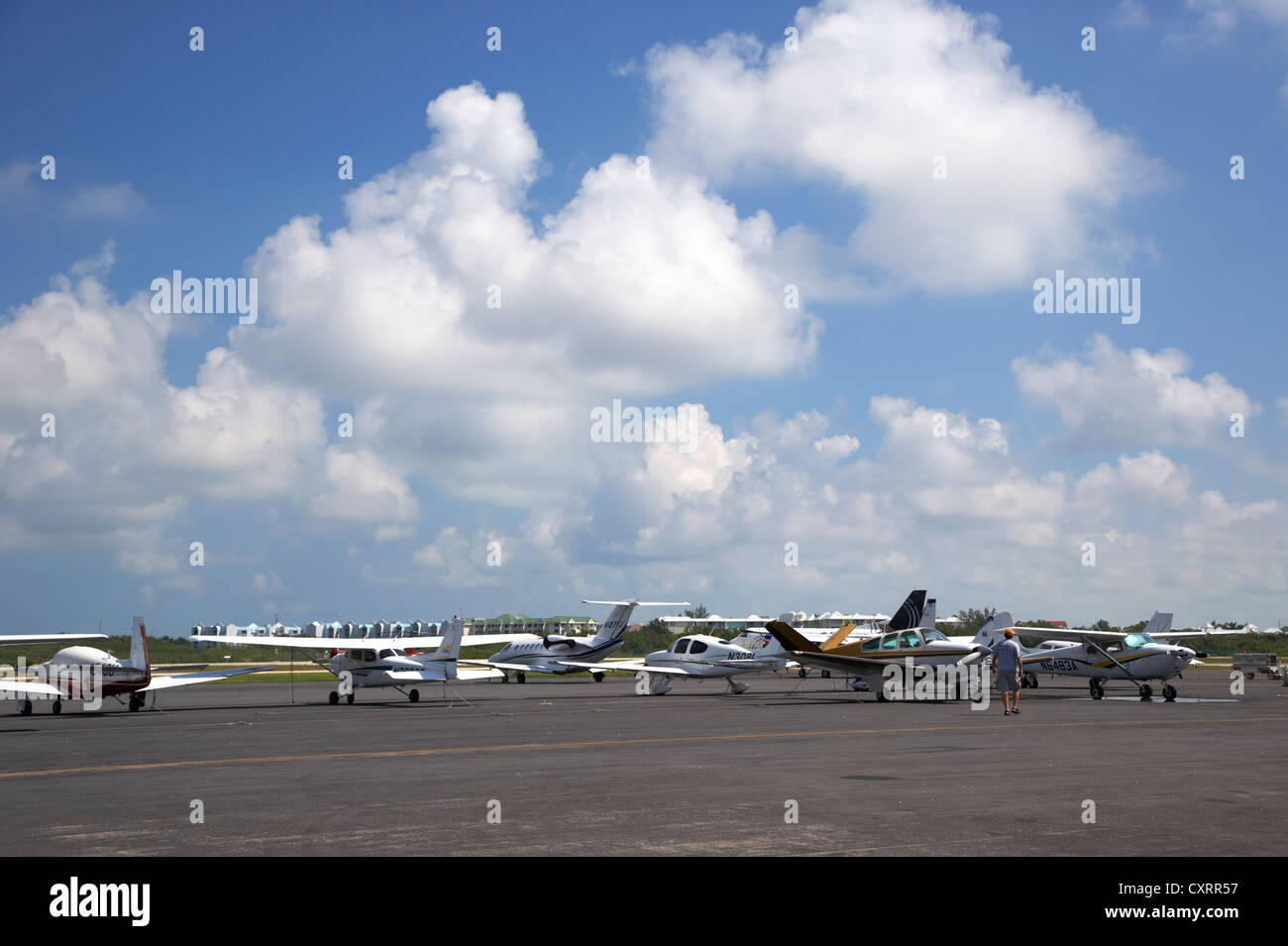 light aircraft tied down on stand at key west international airport florida keys usa - Stock Image