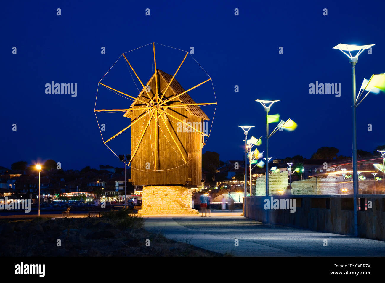 Windmill in Nesebar at the blue hour, Black Sea coast, Bulgaria, Europe Stock Photo
