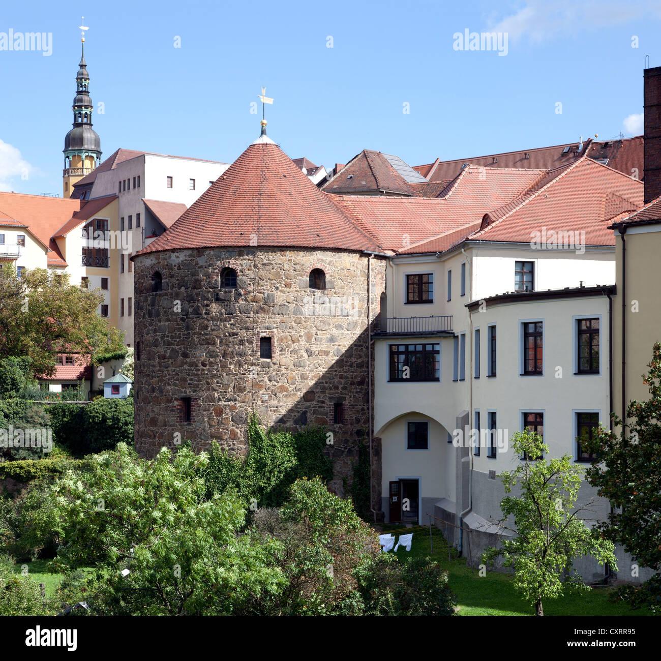 Roehrscheidtbastei bastion, Bautzen, Budysin, Lusatia, Upper Lusatia, Saxony, Germany, Europe, PublicGround - Stock Image