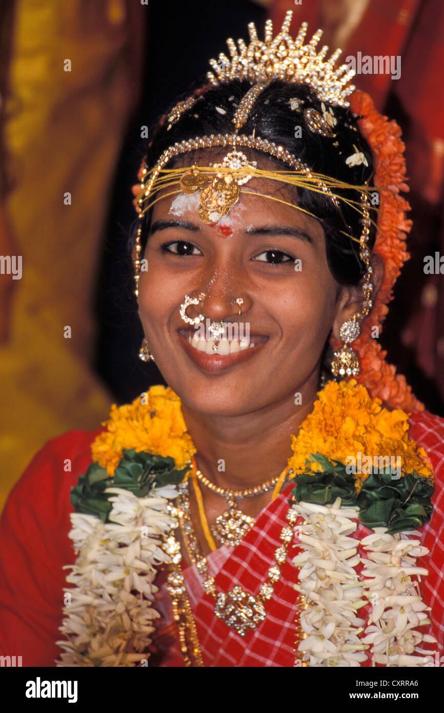 Robed bride, smiling, Tamil wedding, Pondicherry, Tamil Nadu, India, Asia Stock Photo