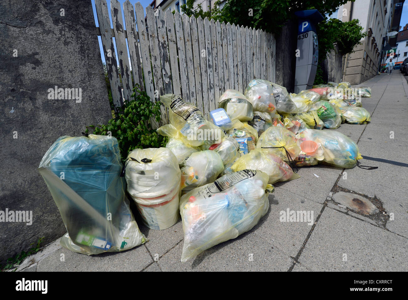 Yellow bags for the collection of recyclable packaging, Stuttgart, Baden-Wuerttemberg, Germany, Europe - Stock Image