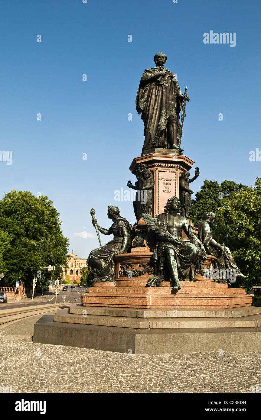 Max monument on Maximiliansstrasse street, monument to King Maximilian II, with allegorical statues of the virtues - Stock Image