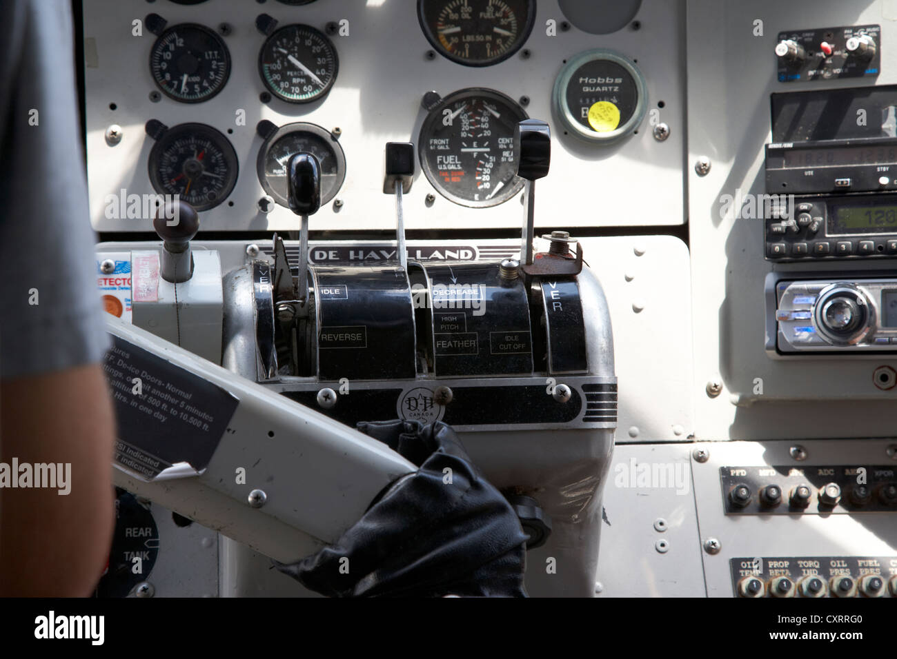 engine controls and instruments interior of dehaviland dhc-3 otter seaplane at key west florida keys usa - Stock Image