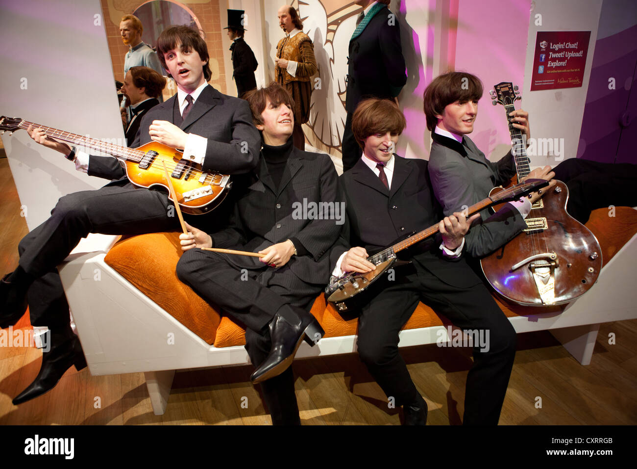 The Beatles wax work models at Madame Tussauds, London - Stock Image