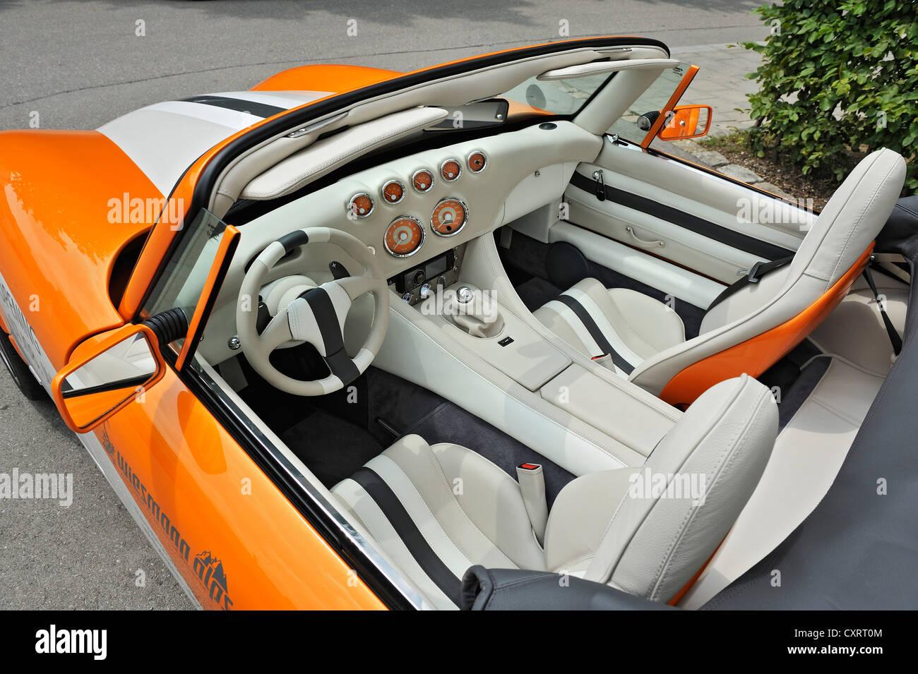 Wiesmann sports car, interior design, dashboard, Munich, Bavaria, Germany, Europe - Stock Image