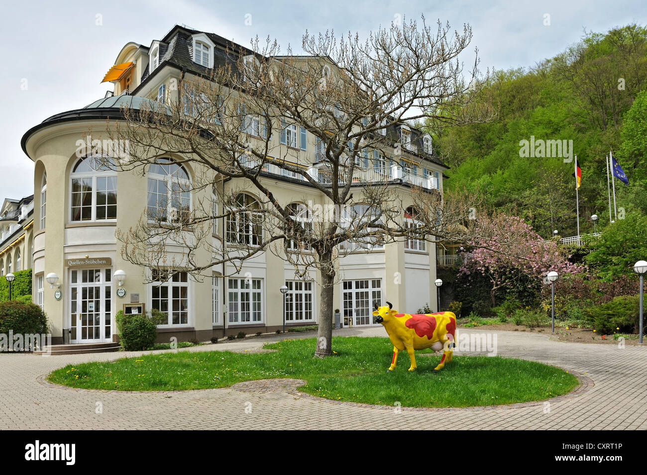 Colourfully painted cow statue in front of the Parkhotel, Schlangenbad, Hesse, Germany, Europe - Stock Image