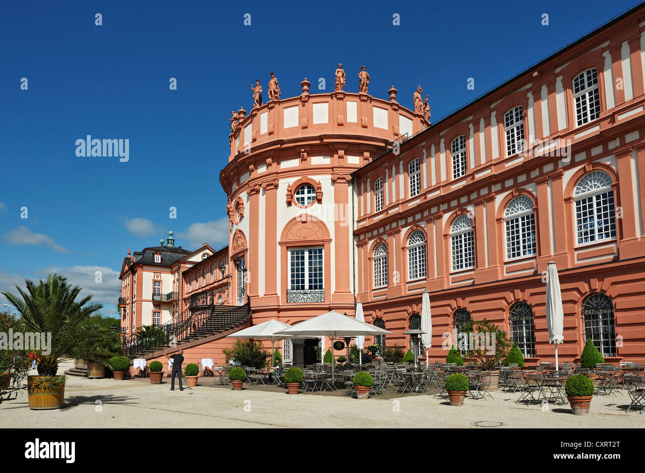 Biebrich Palace, a Baroque building with three wings, Wiesbaden, Hesse, Germany, Europe - Stock Image