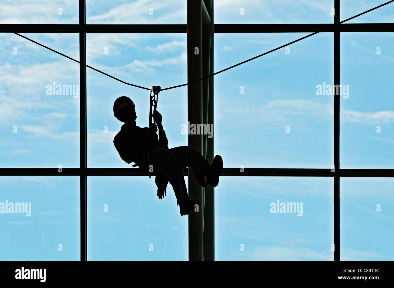 Advertising of canopy rope tours at San José Airport, Costa Rica, Central America Stock Photo