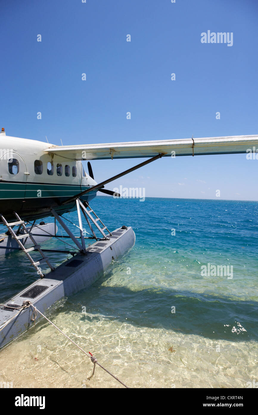 dehaviland dhc-3 otter seaplane tied up on the beach at the dry tortugas florida keys usa - Stock Image