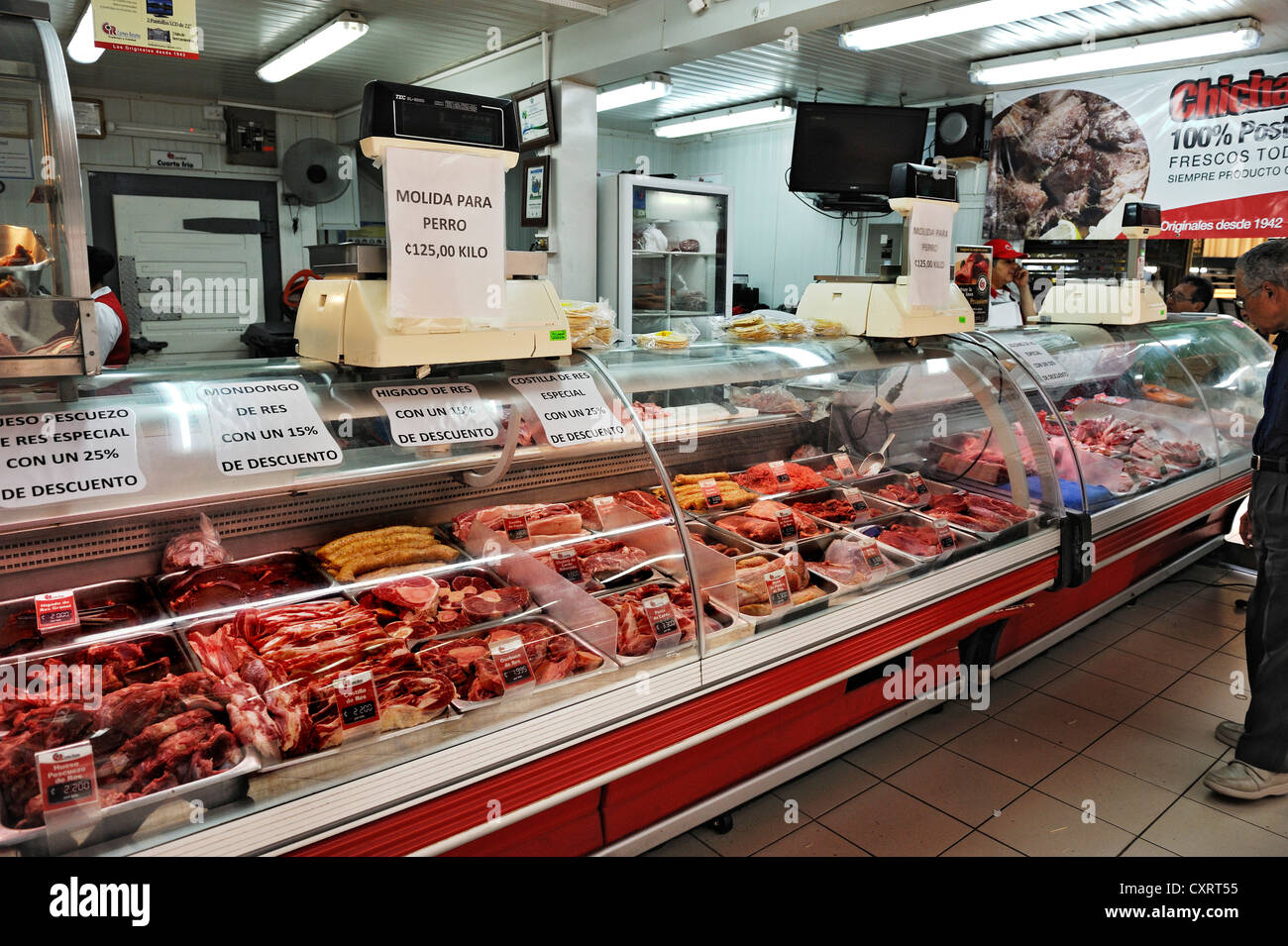 Meat counter at the Central Market, San José, Costa Rica, Central America - Stock Image