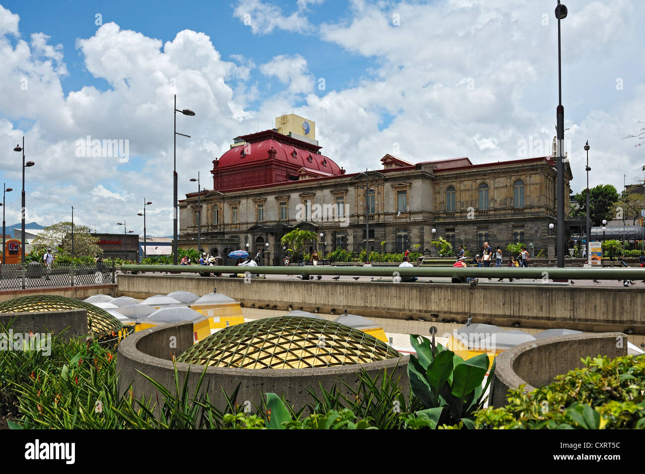 Rear of the National Theatre, roof of the Gold Museum, San Jose, Costa Rica, Central America - Stock Image